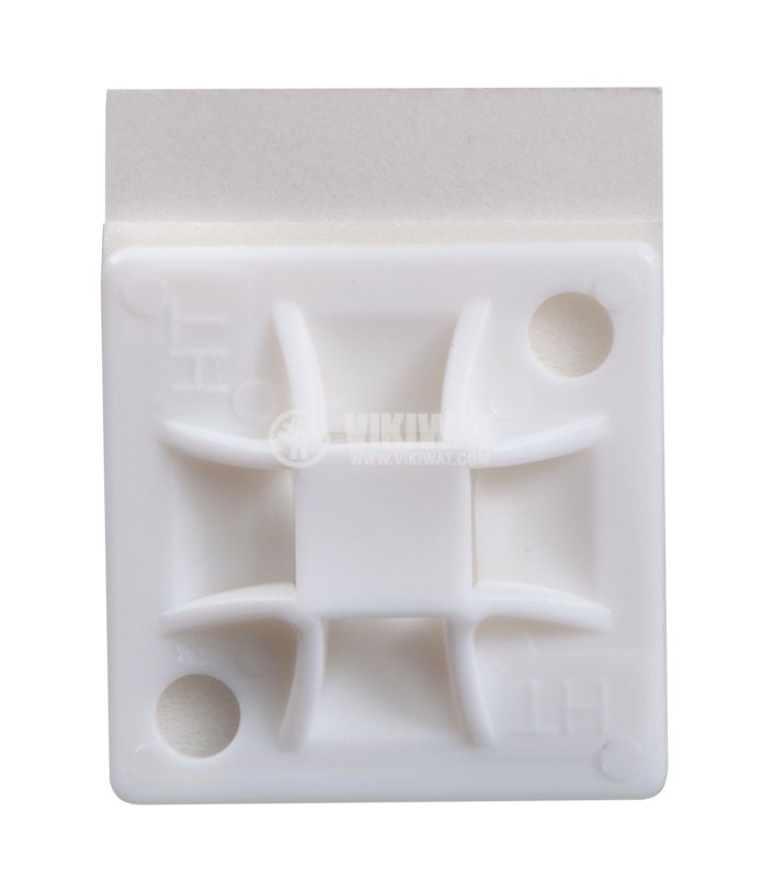 Holder for cable tie QM30A-PA66-NA, 30x30mm, white, adhesive - 2