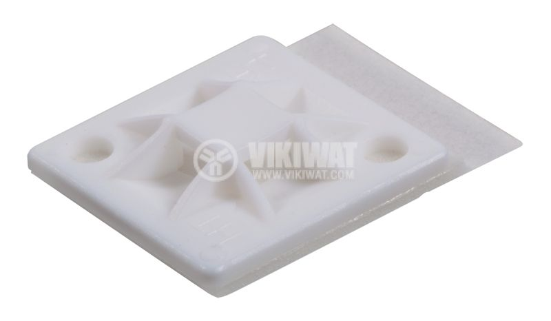 Holder for cable tie QM30A-PA66-NA, 30x30mm, white, adhesive - 1