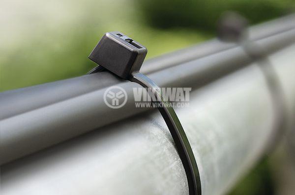 Кабелна превръзка T18R-PA66W-BK, 100mm, черна, UV-защитена - 2