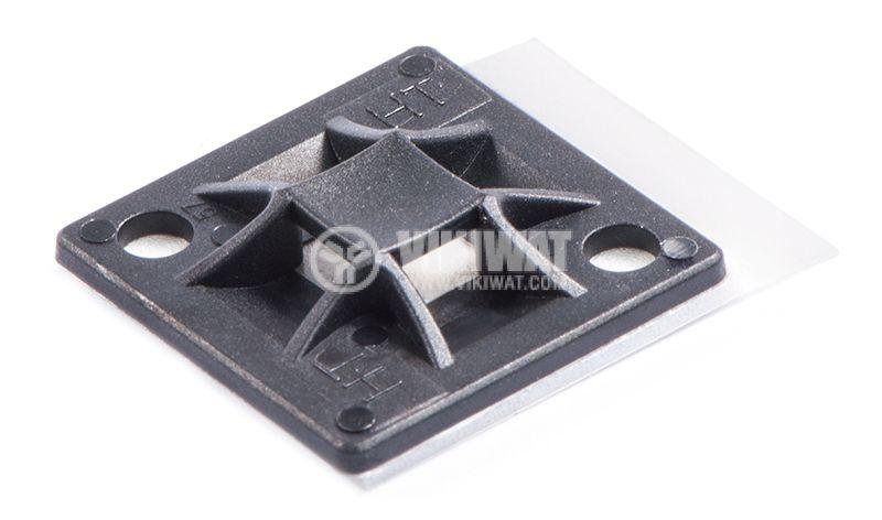 Държач за кабелни превръзки QM30A-PA66-BK, 30x30mm, черен, двойнозалепващ - 1