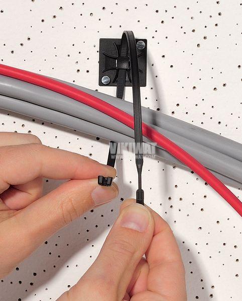Държач за кабелни превръзки QM30A-PA66-BK, 30x30mm, черен, двойнозалепващ - 3