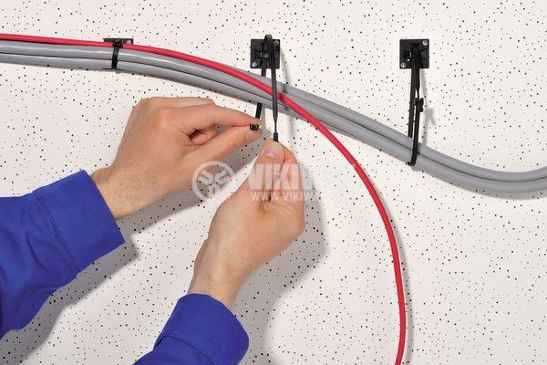 Държач за кабелни превръзки QM30A-PA66-BK, 30x30mm, черен, двойнозалепващ - 5