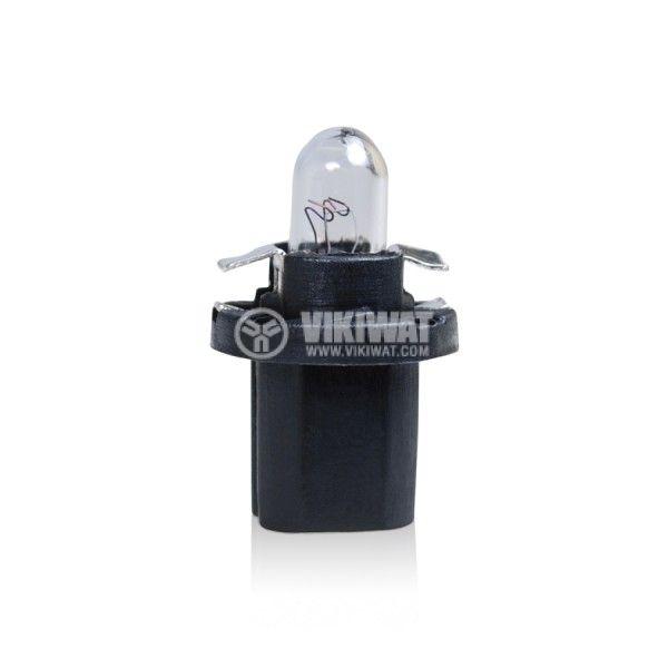 Автомобилна лампа с PVC цокъл, нажежаема жичка, BAX10d/B8.5d, 12V, 1.2W - 1
