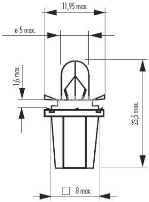 Автомобилна лампа с PVC цокъл, нажежаема жичка, BAX10d/B8.5d, 12V, 1.2W - 2