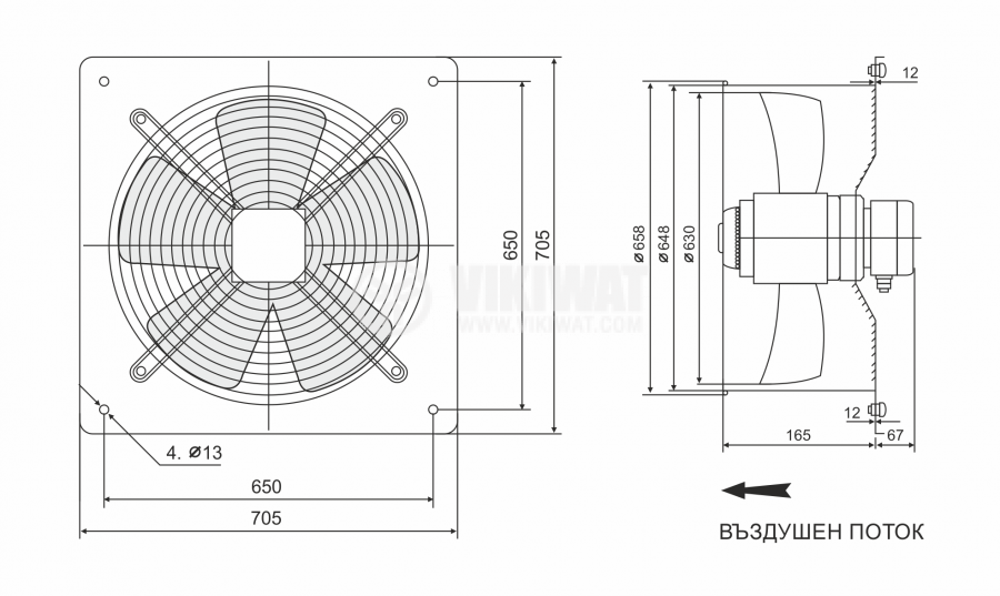 Fan, industrial, axial ф630mm, 15000m3 / h, 800W, FDA-4E-630B, 220VAC - 2