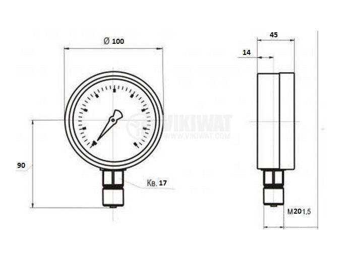 Gauge, indicator, analog, F100 x 45mm, 0 до 20 kg/cm2 (0 - 300 Ib/in2) - 2