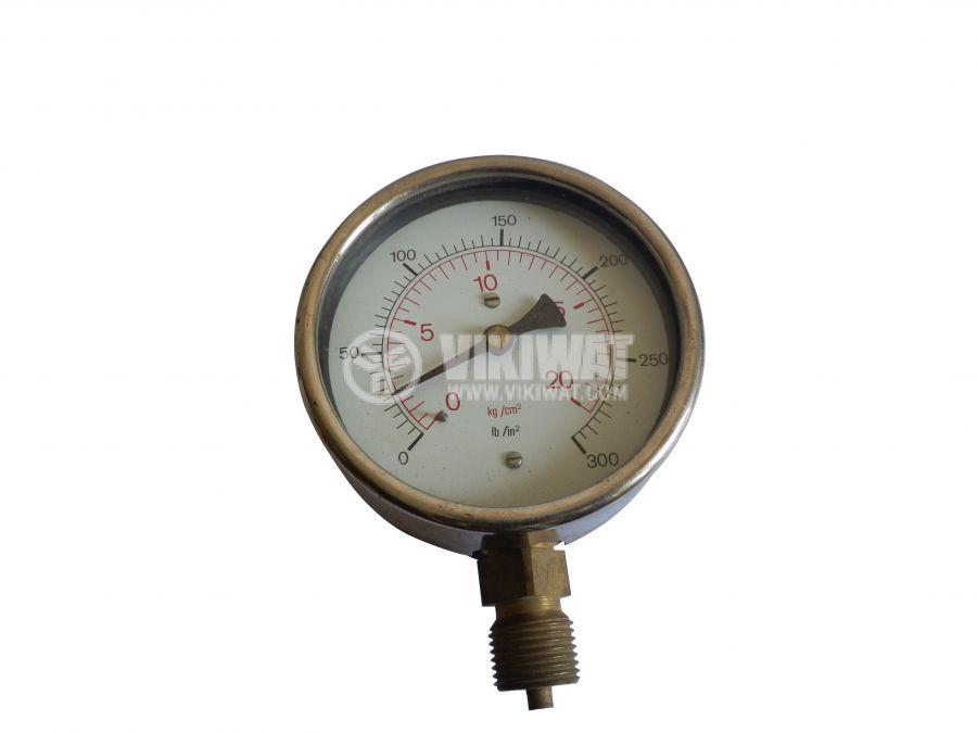 Gauge, indicator, analog, F100 x 45mm, 0 до 20 kg/cm2 (0 - 300 Ib/in2) - 1