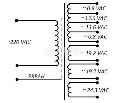 Autotransformer, shielded, 220VAC/2x0.8+2x13.6+2x19.2+24.3VAC, 150VA, M14.713.000 - 2