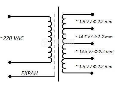 Трансформатор, екраниран, 220VAC / 2x1.5 + 2x14.5VAC, 250VA, B24.713.015-01 - 2