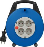 Extension reel, Brennenstuhl, Vario Line, 4-way, 10m, 3x1.5mm2, blue, thermal protection, 1093230