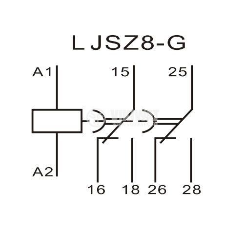 Analogue Time Relay JSZ8-G-05, 24 VDC, 2NC +2 NO, 250 VAC, 3 A, 0 - 60 s / 0 - 60 min - 5