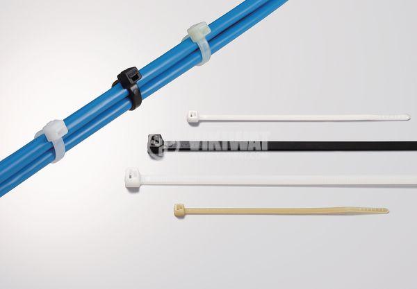 Кабелна превръзка T120RE-PA66W-BK, 390mm, черна, UV-защитена - 4