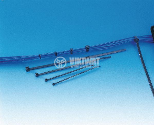 Кабелна превръзка T120RE-PA66W-BK, 390mm, черна, UV-защитена - 5