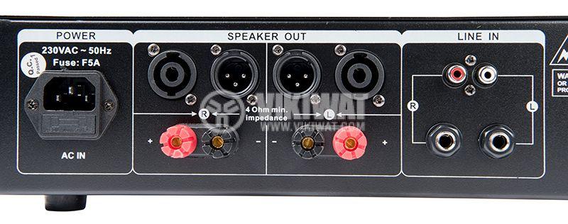 Professional Amplifier PA-AMP10000-KN, 2x500W, 2x250W - 2