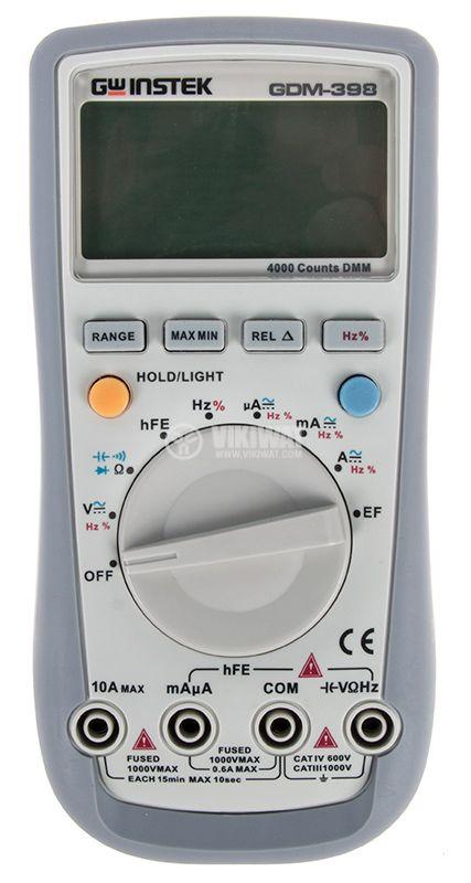 Дигителен мултиметър GDM-398, LCD(4000), Vdc/Vac/Adc/Aac/Ohm/F/Hz - 1