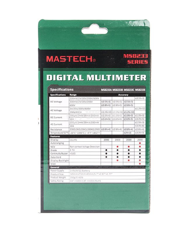 Мултимер MS8233А, VDC, VAC, ADC, Ohm - 7