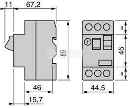 Моторна термично-токова защита, GV2МЕ05, трифазна, 0.63 - 1A - 2