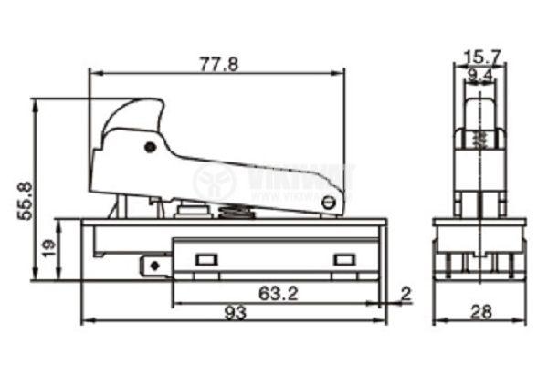 Електрически прекъсвач (ключ) за ръчни електроинструменти FA2-8/2W 8A/250VAC 2NO - 3