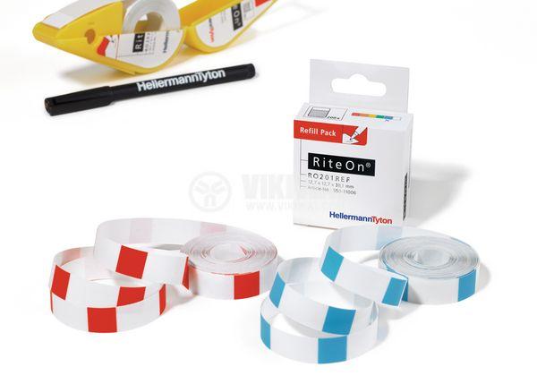 Самозалепващи стикери, 200 броя, 12.7х38.1mm, бели, RO201REF-1401-WH - 4