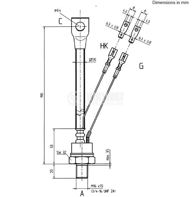 Thyristor SKT160/12E, 1200 V, 160 A - 2