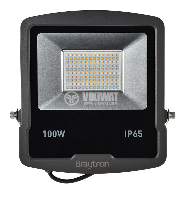 LED прожектор 100W, 220VAC, 8000lm, 3000K, топлобял, IP65, влагозащитен, SLIM, BT61-09102 - 1