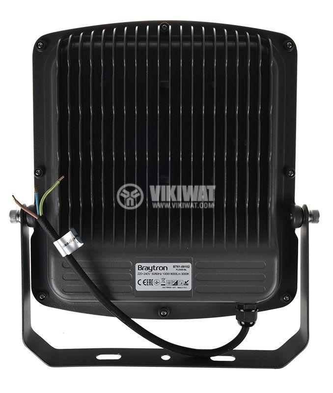 LED прожектор 100W, 220VAC, 8000lm, 3000K, топлобял, IP65, влагозащитен, SLIM, BT61-09102 - 6