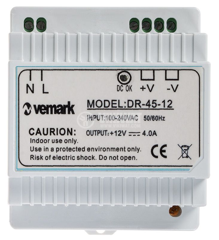 Switching power supply for DIN rail 12VDC, 4A, 45W, VDR45-12