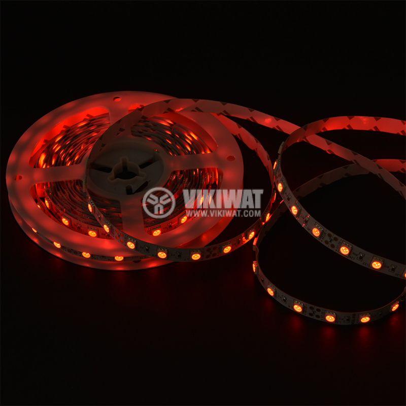 Светодиодна лента LED, 60 диода на метър, червен цвят, SMD5050, 12VDC, 14.4W/m, IP20 - 2