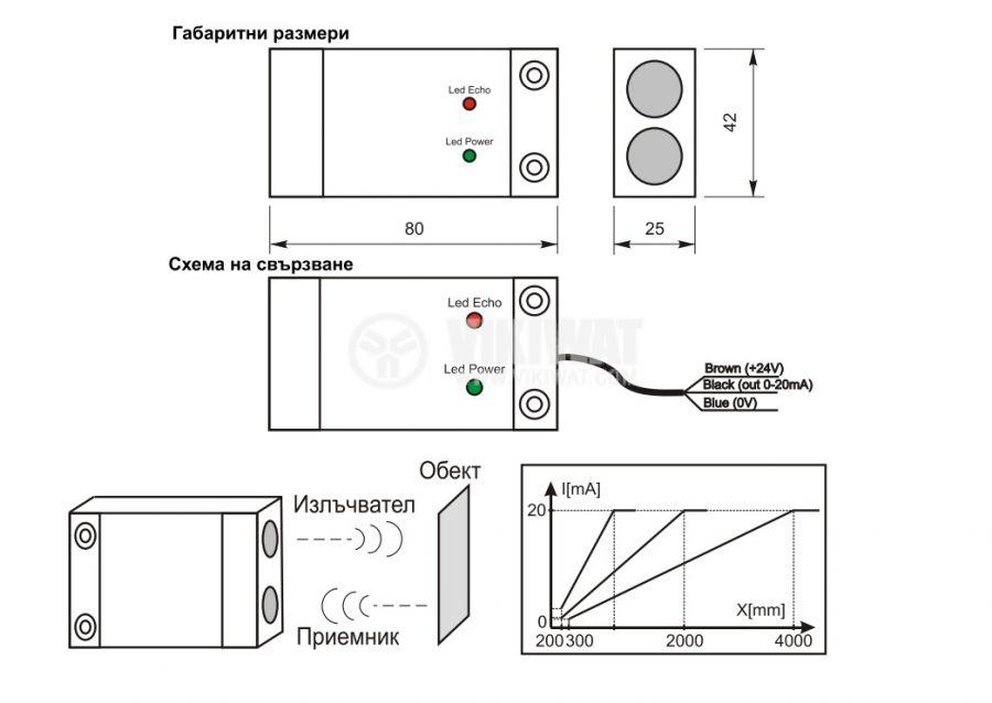 Ultrasonic Sensor, UD64AI01-1, 14-30 VDC, 1 m, 20 mA  - 2
