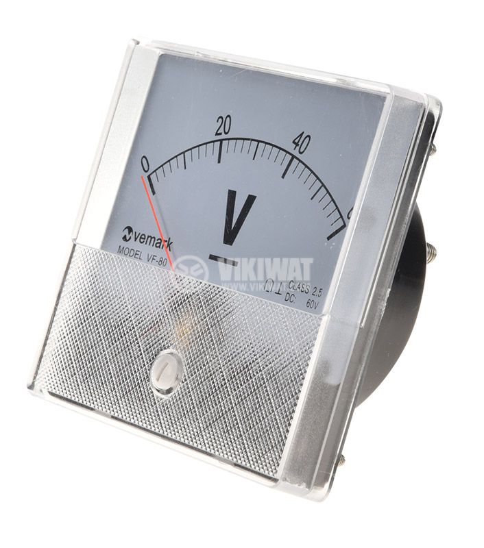 Analogue panel voltmeter, VF-80, 60VDC, self-contained, 82x82 mm - 1