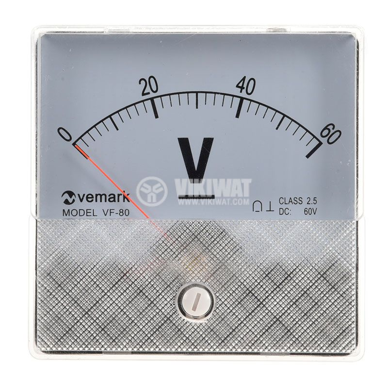Analogue panel voltmeter, VF-80, 60VDC, self-contained, 82x82 mm - 2