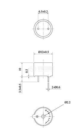 Зумер, KPM-G1203A5, 3V, 85dB, 2400Hz, Ф12 x 10mm, пиезо - магнитен - 2