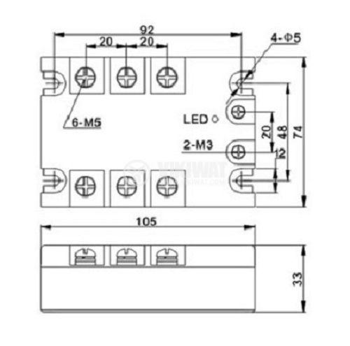 Solid State Relay JGX-3-4825DA 3-32VDC 25A/24-480VAC - 3