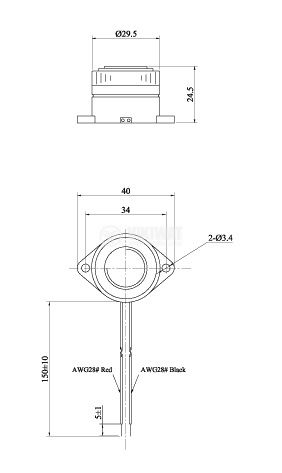 Пиезо зумер 90dB 3.7KHz Ф29.5x24.5mm - 4