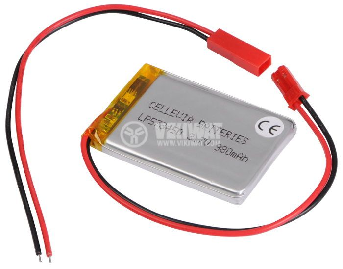 Rechargeable Battery Pack L573450, 3.7VDC, 980mAh, LiPo