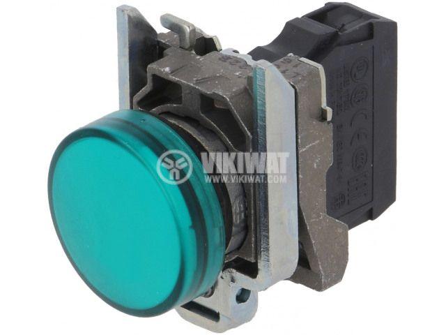 Индикаторна лампа LED, XB4BVM3, 230~240VAC, зелена, ф22mm