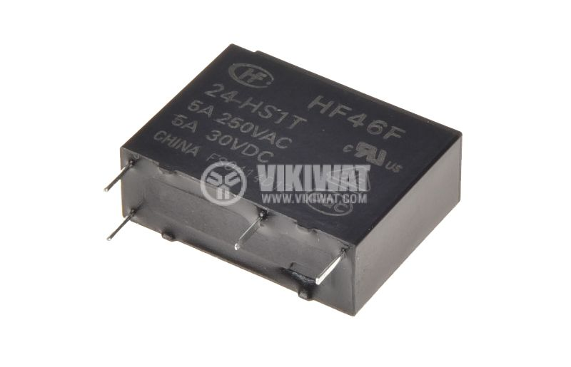 Miniature electromagnetic relay, HF46F/024-HS1T, with coil 24 VDC 250 VAC / 5A SPST NO - 1