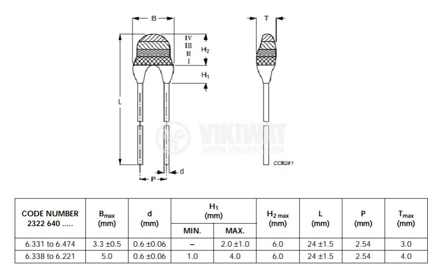 Thermistor, NTC, 470 kOhm, 2.54 mm - 2