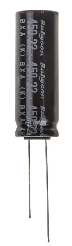 Кондензатор електролитен BXA S1707, 450V, 22uF, ф13x36mm - 1