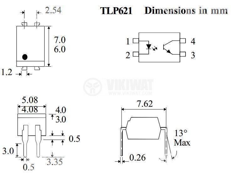 Оптрон TLP621, транзисторен изход, 1 канал, DIP4 - 2