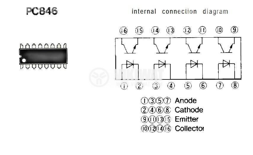 Оптрон  PC846, 4 канален