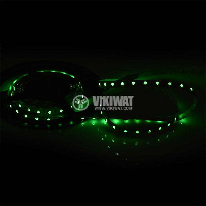 Светодиодна лента LED, 60 диода на метър, зелен цвят, SMD5050, 12VDC, 14.4W/m, IP20 - 2