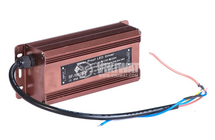 LED power supply SF-100280P, 24-38VDC, 2.8A, 100W, waterproof