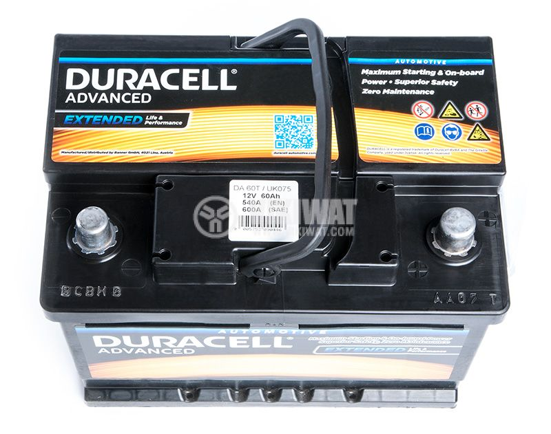 Car battery, 60Ah, starter, 12VDC, DURACELL DA 60T - 3