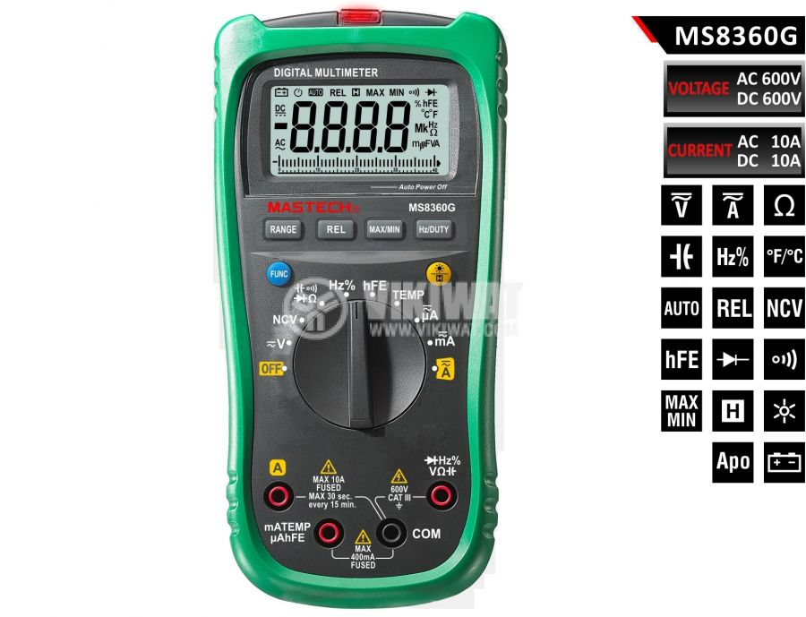 Мултиметър MS8360G, LCD (4000), Vdc, Vac, Adc, Aac, Ohm, F, °C, Hz - 1