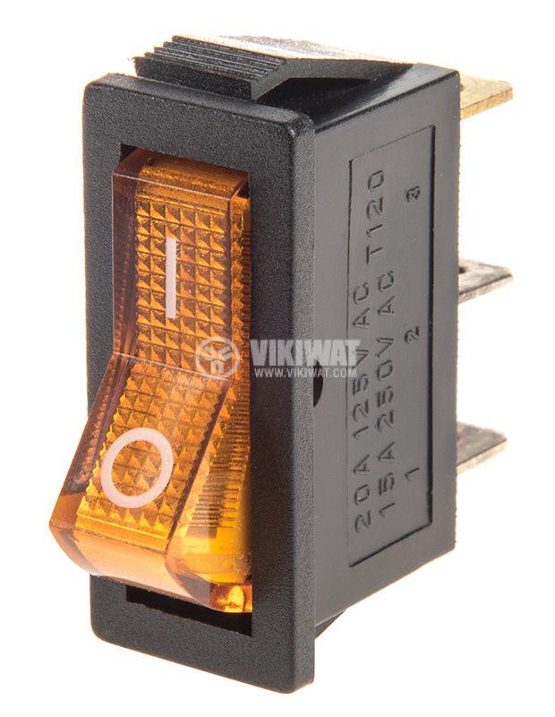 Rocker Switch, 2-position, OFF-ON, 15A/250VAC, hole size 32x11mm - 1