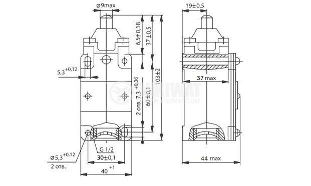 Limit Switch VP15-21А211-54U2.8, 1NO+1NC, 10A/660VAC, plunger - 2