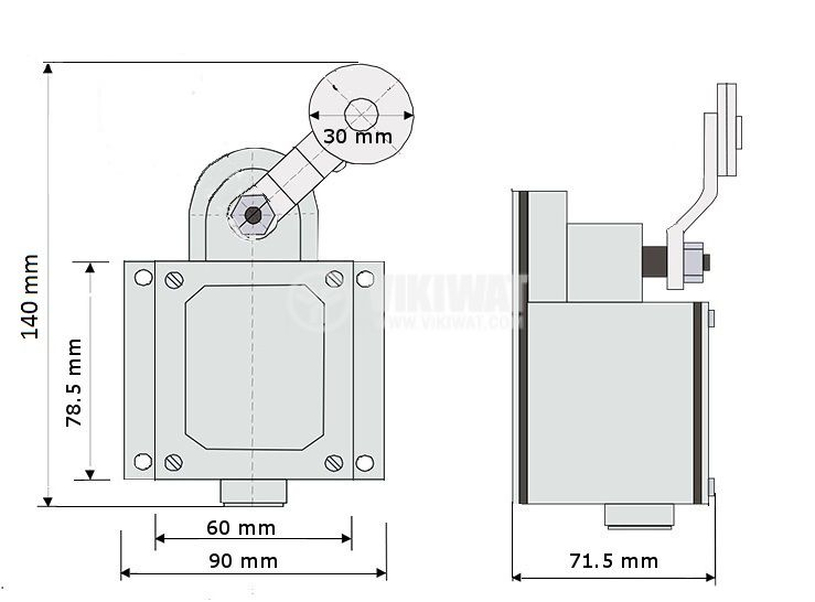 Limit Switch VK200G-BU2-1, DPST-NO+NC, 16A/500VAC, roller lever - 2