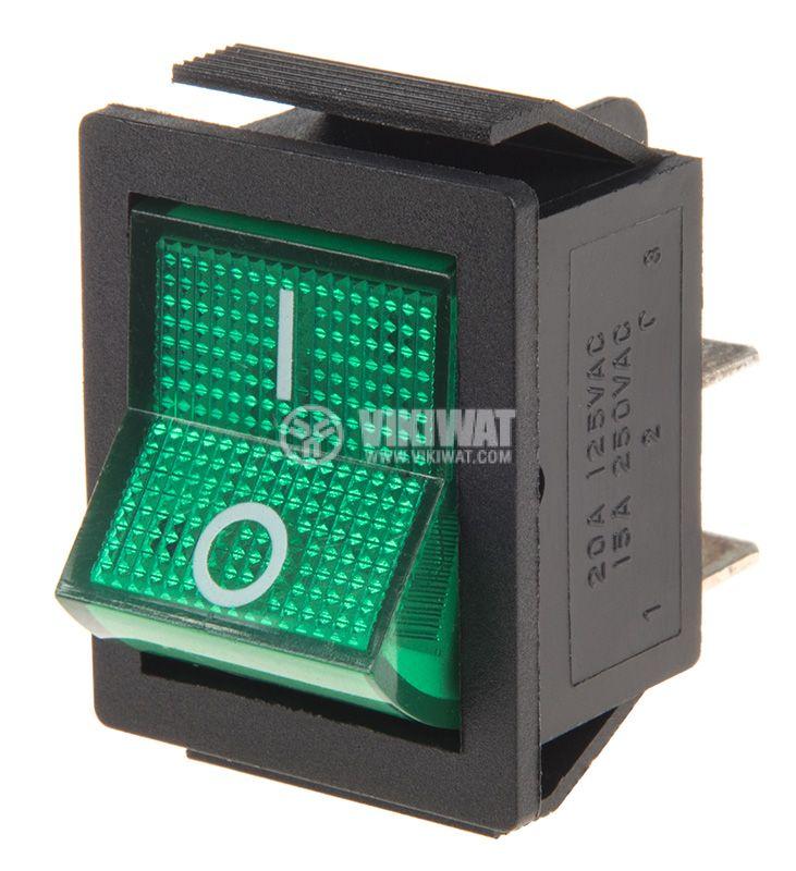 Rocker Switch, 2-position, OFF-ON, 15A/250VAC, hole size 28x22mm - 1