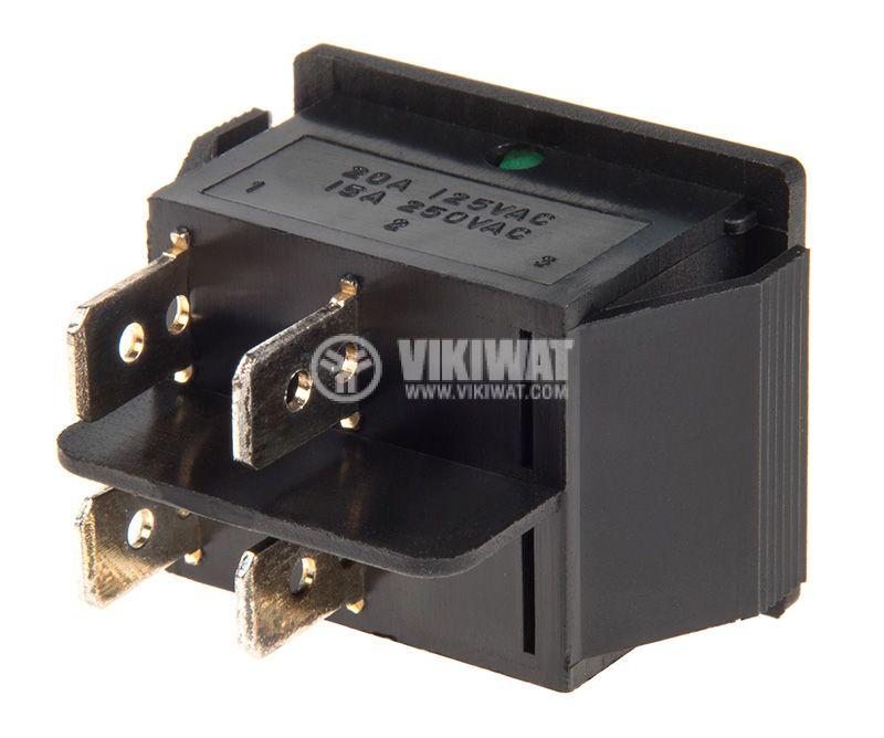 Rocker Switch, 2-position, OFF-ON, 15A/250VAC, hole size 28x22mm - 3
